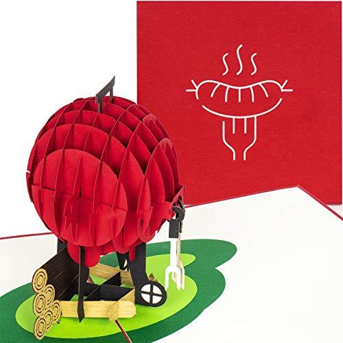 PaperCrush® Pop-Up Karte Grill [NEU!] - 3D Geburtstagskarte, Männer Glückwunschkarte, Mitbringsel für Grillparty, Grillen - Lustige 3D-Karte für Papa, besten Freund, 18. Geburtstag