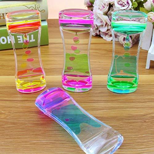 Isuper Zweifarbiger Sanduhr-flüssiger Bewegungs-Bubbler-Timer für entspannende Therapie entlastet Druck und erhöht Zappeln-Spielzeug-Blau und Rosa -