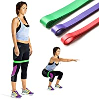 Bandes de Résistance élastique - ODOLAND Lot de 3 Bandes d'Exercice durable pour Fitness, Pilates, Yoga, Gym Entraînement - Sangles pour Chevilles