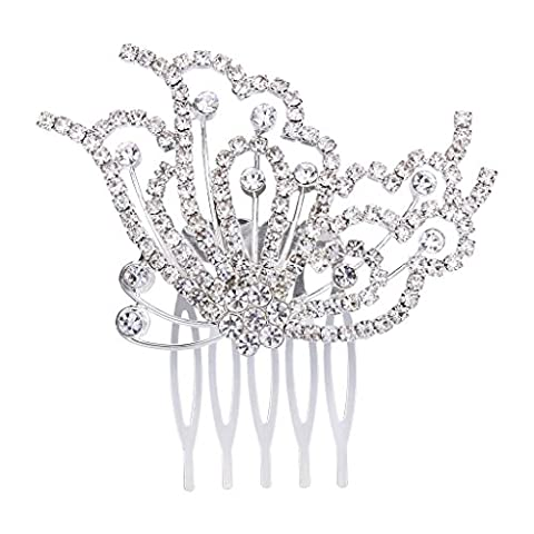 Clearine Women's Wedding Bridal Crystal Filigree Side Butterfly Hair Comb Clear Silver-Tone