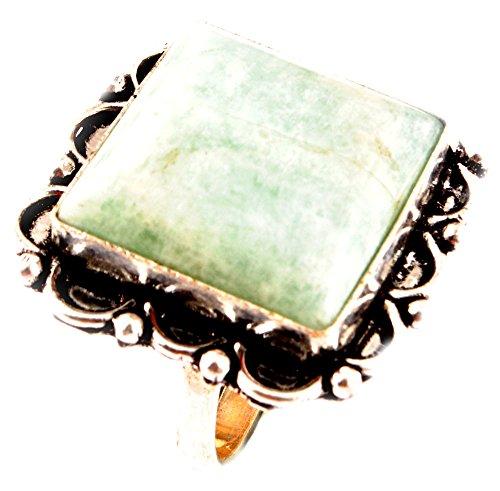 Indie artigiani amazonite anello naturale 925 della pietra preziosa placcato argento delle donne anello uk formato dell'anello r / anello ue size 58.75