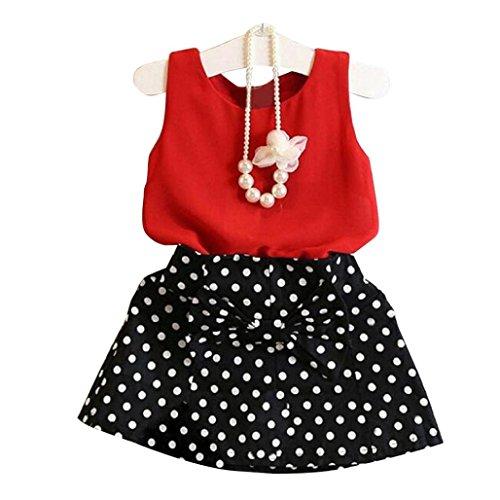 Verano Ropa Conjunto Falda Corta De NiñA, Chicas Chaleco Plisado Vestido Dos Piezas Set Ropa De NiñOs Traje De Falda Top De ChifóN + Falda Corta (120, Rojo)