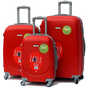 Luggage Set Of 3 Hard Shell ABS Plastic Suitcase Carry On Hand 4 Wheeled Trolley (Red)
