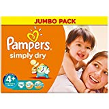 Pampers Simply Maxi Plus de 9-20Kg sec Taille (70) - Paquet de 2