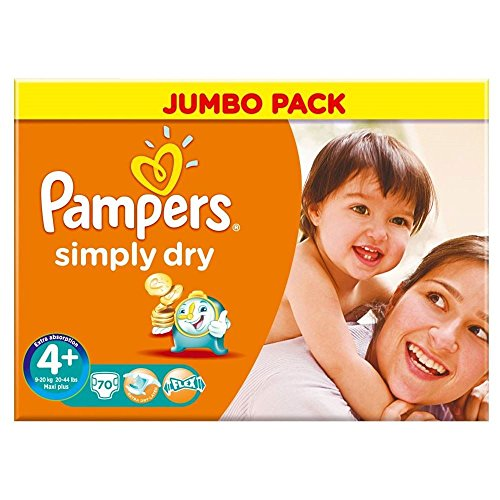 Pampers Simply Dry Größe 4 + (9-20kg) Jumbo Box Maxi plus 70 pro Packung