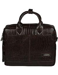 Handcuffs Trendy Snake/Alligator/Crocodile Print Dark Brown Color Leather Office Laptop Bag For Men (BFLAPBAGN17)