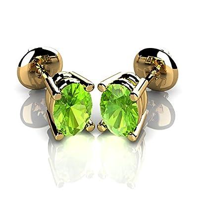 3.00 Ct Oval Shape Peridot Stud Earrings in 9K Yellow Gold Screw Back