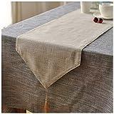 Rancheng Chemin de Table en Lin Coton Couleur Uni Table Runner Style Japonais Décoration Accessories pour Maison Fêtes Bouquet Mariage Anniversaire 30cmx220cm Beige Kaki