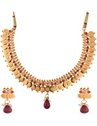 Ganapathy Gems 1 Gram Gold Plated Lakshmi Coin With Maroon Stones And Pearls Necklace Set For Women