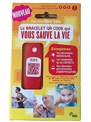 Silincode SOS - Bracelet QR Code qui vous sauve la Vie Rouge - Taille S
