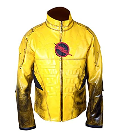 F&H Boy's Reverse Flash Eobard Thawne Zoom Yellow Lightning Leather
