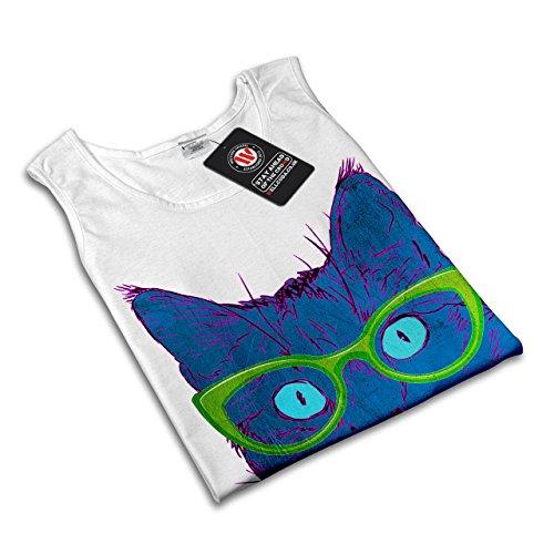 Brille Tier Treu Katze Farbe Kunst Damen S-2XL Muskelshirt | Wellcoda Weiß