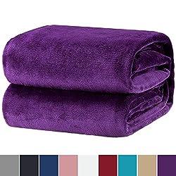 Bedsure Kuscheldecke hochwertige Flauschige Decke Violett - Microfaser Flanell Decke warme weiche Fleecedecke für Kinder 130x150cm - Kuschelige Wohndecke/Sofadecke/Reisedecke