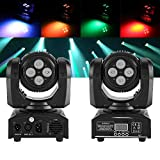lyrlody Testa Mobile Luci,Moving Head, LED Luce di Scena,Luce da Discoteca a LED,DMX512,Mini 4 in 1 RGBW,Effetto Stadio,Luce Principale Mobile,per Disco/Bar/Fest