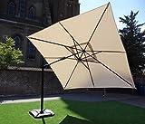 Ampelschirm Sonnenschirm | Sand | 300 x 300 cm / 3 x 3m | DOUBLE TILT | Viereckig / Quadratisch | SORARA | ROMA | Polyester 250 g/m² | Kurbel & 360º Rotating Device | Incl. Schutzhülle & Kreuzfuß