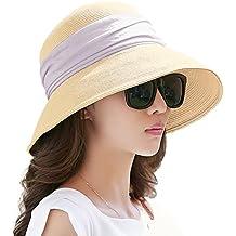 9d68af9ffdcd2 SIGGI Mujer Sombrero Plegable De Paja Panamá Verano Sol Ala Ancha Voltear  hacia Arriba Abajo