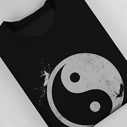 Yin Yang Surfer Outside Womens Sweatshirt Black