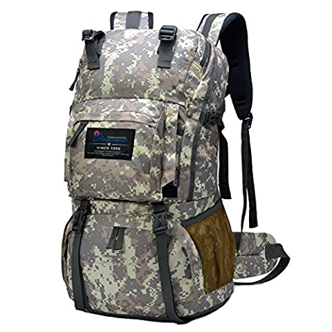 Mountaintop 40L Hiking Daypack/Camping Backpck/Travel Daypack/Casual Backpack with Rain Cover for Outdoor Climbing School (Camouflage Grey)
