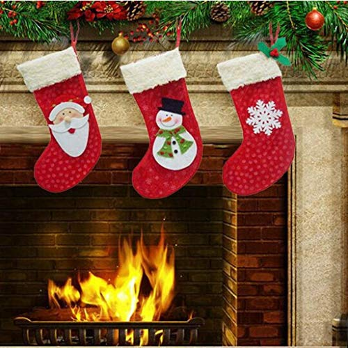 Iuhan Pcs Christmas Decorations Santa Claus Snow Candy Socks Bag One Size Multicolor