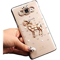 Sunroyal® Ultra Sottile Bling Duro Back Custodia per Samsung Galaxy J3 (2016) SM-J320F, 3D Transparente Chiaro Glitter Diamanti Case Cover Posteriore Telefono Protector (Cervi cristallo)