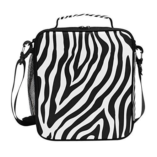 BIGJOKE Lunchtasche, abstraktes Zebramuster, Lunchbox, isolierter Neopren-Reißverschluss für Erwachsene, Kinder, Herren, Damen, Outdoor, Schultasche, Picknick, Camping, ()