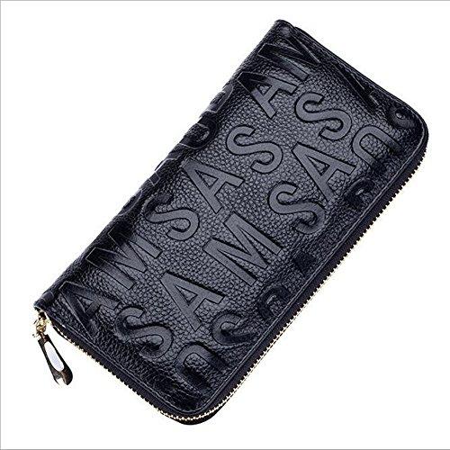 MeiliYH Ladies Long Sezione Cuoio in rilievo Lettera con Zippered Portafoglio Nero