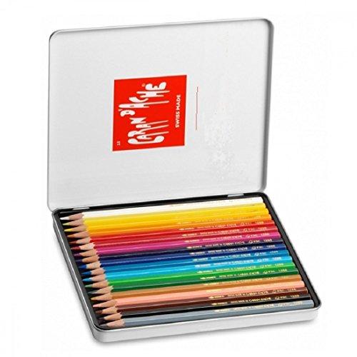 Caran d'ache - scatola in metallo 18 matite colorate acquerellabili swisscolor