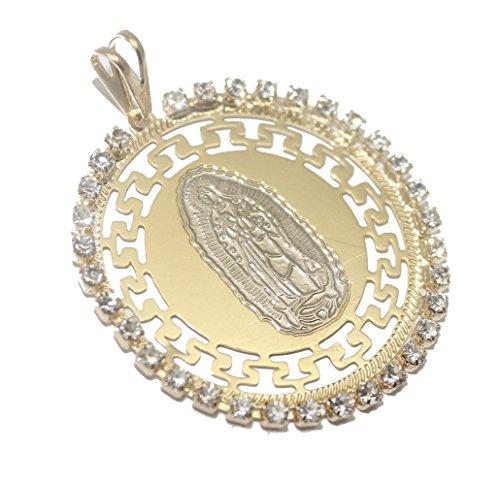 Diamantados of Florida Virgen de Guadalupe con Strass de Medalla-Nuestra señora de Guadalupe Medalla Redonda 18K Chapado en Oro Collar