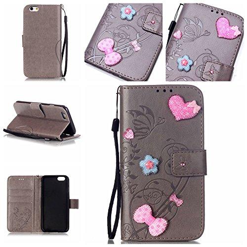iPhone 6 6S Hülle,iPhone 6 6S Case,Cozy Hut ® Ultra Slim Flip Lederhülle / Ledertasche / Hülle / Case / Cover / Etui / Tasche für iPhone 6 6S (4,7 Zoll) / 3D Diamant Strass Bling Glitzer Schmetterling grau