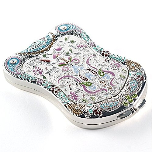 jinvun Miroir d'antiquités surprenant de voyage : Le miroir dur Compact de maquillage de sac durable avec le dessin de l'millésime de luxe, la figure de l'écran, l'agrandissement & le cadeau de bijoux libre de riflessione-unico (Argent)