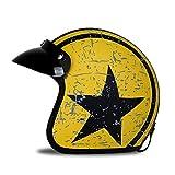 Woljay 3/4 Offener Sturzhelm, Helmet Motorrad-Helm Jet-Helm Scooter-Helm Vespa-Helm Halbhelme Motorrad Helm Flat mit Rebellen Star Graphic Schwarz Gelb (L)