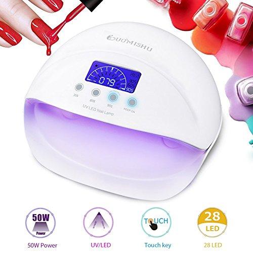 50W Nagellampe UV/LED Nageltrockner, 28pcs LEDs Lampe für Nägel LCD Display Touch Key mit 4 Timer, für Nagellacke und Gel & Trocknen Schnell von Gelnägel und Zehennägel -Duomishu (weiß) (Watt-rot-lampe)