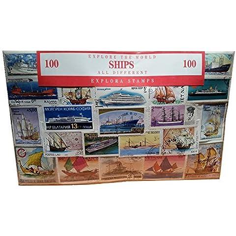 Navi del mondo Stamp Collection. Barche Barca trasporto Souvenir/Speicher/Memoria. Da collezione Francobolli di tutto il mondo. Tutti diversi, 100diversi timbri. Timbre/Stempel/Francobollo/Sello.