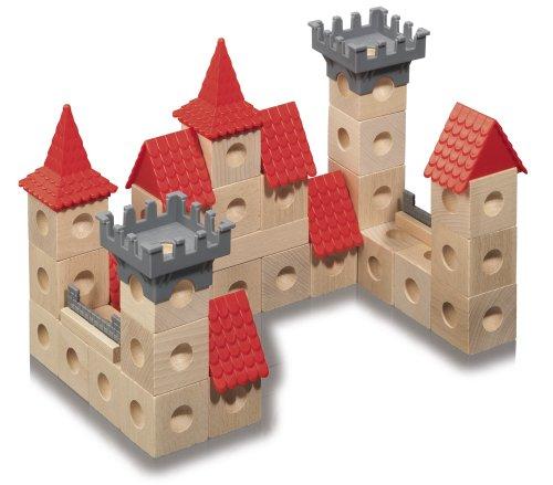 Eichhorn  100004993 - Holz- Marblebox-Burg, Holzwürfel inklusiv Murmeln und Zubehör, 42-teilig