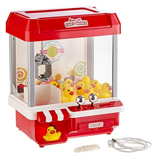 Gadgy ® Candy Grabber mit 5 Musiken | USB-Kabel und 10 Plastikenten Inbegriffen | Süßigkeiten Greifarm Automat | Ideales Gadget Geschenk