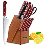 Homgeek Kitchen Knife Set,15-Piece Knife Set with Block Wooden Boxed,Sharpening Rod for Chef