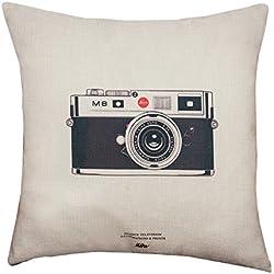 BIGBOBA Lino sofá almohada de funda retro cámara patrón suave decorativo Sofá almohada funda de cojín 45* 45cm