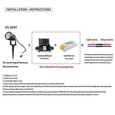 LemonBest® 6W LED Rasen Licht LED-Lampe LED-Scheinwerfer IP65 wasserdichten Outdoor-Garten-Teich Park Landschaft Warmweiß DC12V, Packung mit 4