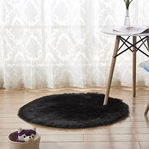 Schaffell-Art-Wolldecke (45 x 45 cm) Faux-Vlies-Stuhl-Abdeckung Sitz-Auflage-weiche flaumige Shaggy-Bereichs-Wolldecken für Schlafzimmer-Sofa-Boden-runden Teppich (Schwarz, 45 x 45 cm) (Vlies-matratze-auflage)