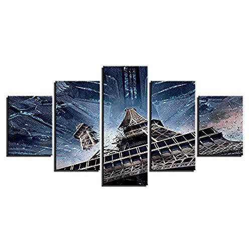 Kuletieas 5 stück Leinwand Wandkunst Eiffelturm Gemälde HD Drucke Abstrakte Landschaft Poster Wohnkultur Wohnzimmer/Rahmen-200x100cm