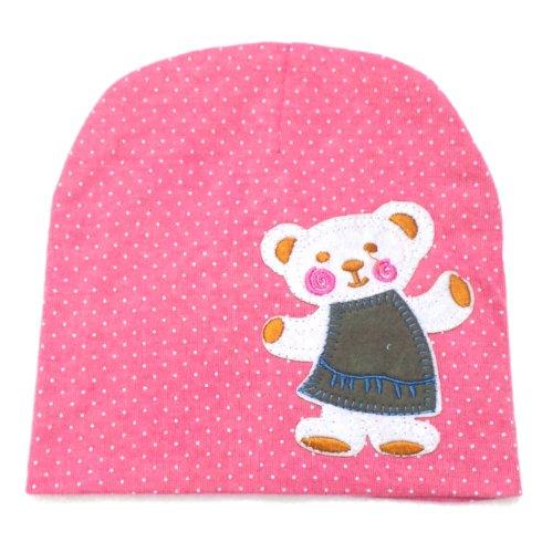 BB.23 - Bonnet Bébé Enfant 0-36 Mois - Bonnet Rose Pois Ourson 859115e7f5d