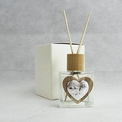 Dlm26840 profumatore barattolo in vetro cuore in legno per cresima bomboniera