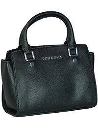 TE6227 - Samtlebe® - Mini Henkeltasche kleine Handtasche Abendhandtasche aus Lederimitat in Schwarz
