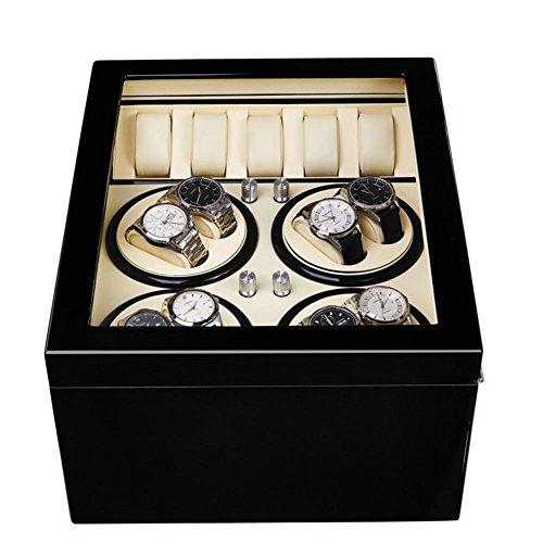 SHISHANG 8 +5 Selbstaufzug Uhrenbox schütteln Tisch Box Elektromotor rotierenden Akihabara Holzkiste , white 8+5 + ebony -