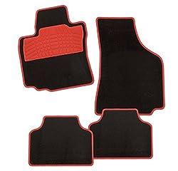 CarFashion 236178 Colori Rot DL4, Auto Fussmatte in schwarz, Automatten, roter Trittschutz, rote Hochglanz Kettelung, Auto Fussmatten Set ohne Mattenhalter
