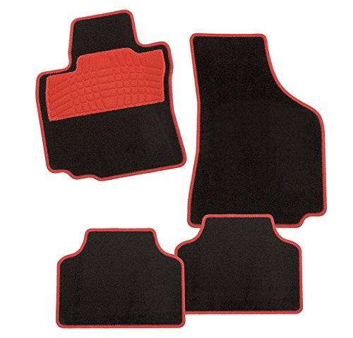 Preisvergleich Produktbild CarFashion Colori Rot DL4, Auto Fussmatte in schwarz, vorne und hinten, ohne Mattenhalter, für Fiat 500 Limousine, Cabrio , Baujahr 01/2009-00/0000