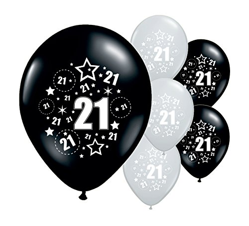 10 X AGE 21st BIRTHDAY BLACK SILVER PINK BLUE BALLOONS 12