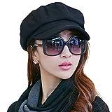 SIGGI Schwarze Baumwolle Zeitungsjunge Mütze Barett Mütze Für Frauen Mit Visier Hut Wolle Baskenmütze Schirmmütze