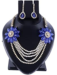 Ansh Creations Jewellery American Diamond Gold Plated Necklace Set / Jewellery Set With Earrings For Women