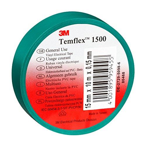 3M TGRU1925 Temflex 1500 Vinyl Elektro-Isolierband, 19 mm x 25 m, 0,15 mm, Grün